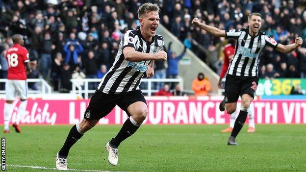 Newcastle winger Matt Ritchie celebrates scoring his goal