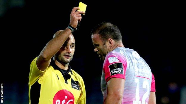 Jamie Roberts receives his yellow card