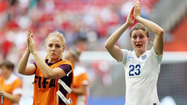 England and Notts County Ladies team-mates Alex Greenwood (l) and Ellen White