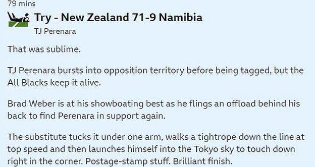 """Screengrab of how TJ Perenara's try was described, including the phrases """"postage-stamp stuff"""" and """"brilliant finish"""""""