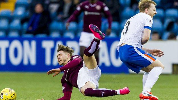 Hearts' Sam Nicholson and Kilmarnock's Stevie Smith clash at the weekend