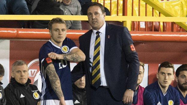 Scotland striker Jason Cummings and interim manager Malky Mackay