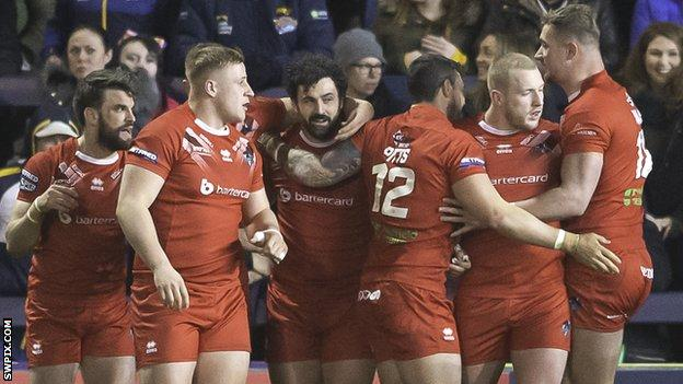 London celebrate Jay Pitts's try against Leeds.