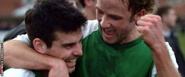 Danny Griggs (left) and Phil Parkinson, now the club's management team, were part of Nantwich's winning Vase team in 2006