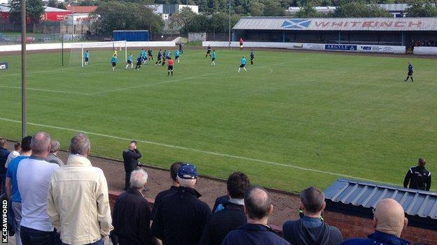 Around 300 fans watched Harestanes' first Scottish Cup foray at Duncansfield in Kilsyth