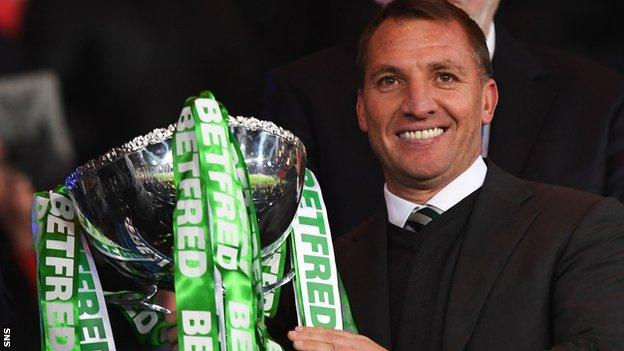 Brendan Rodgers holds the Betfred Cup