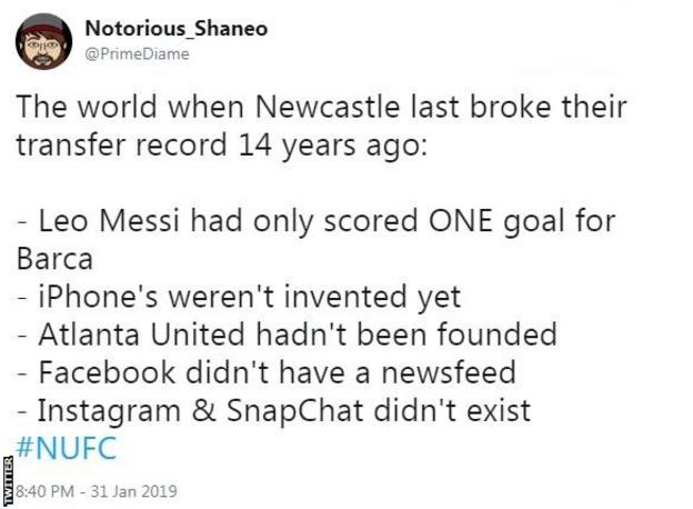 A tweet by a Newcastle fan saying: The world when Newcastle last broke their transfer record 14 years ago. Leo Messi had only scored one goal for Barca. iPhones weren't invented yet. Atlanta United hadn't ben founded. Facebook didn't have a newsfeed. Instagram and Snapchat didn't exist.