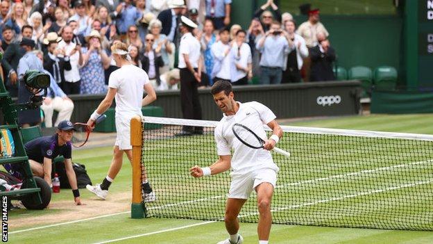 Novak Djokovic celebrates as Denis Shapovalov trudges off court