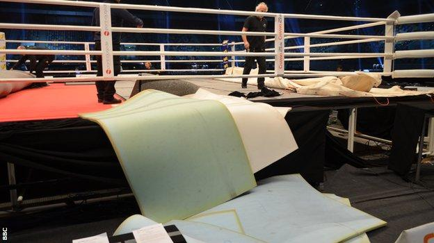 Layers of foam removed from the ring in Dusseldorf