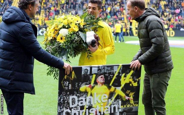Pulisic played his last home game for Borussia Dortmund on 11 May, scoring the first goal as the team beat Fortuna Dusseldorf 3-2