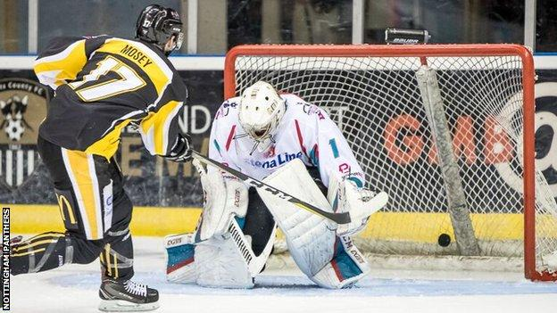 Evan Mosey fires into the Giants net to help Nottingham to a quarter-final victory