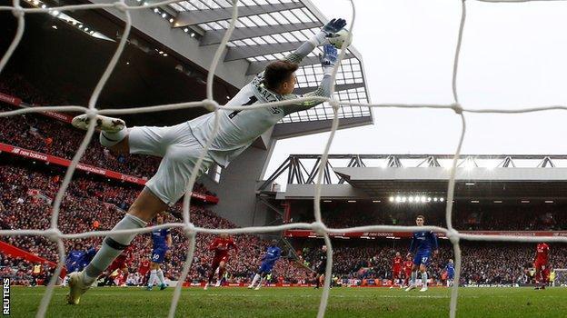 Mohamed Salah scores Liverpool's second goal against Chelsea