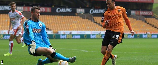 Jed Steer saves Adam Le Fondre's shot