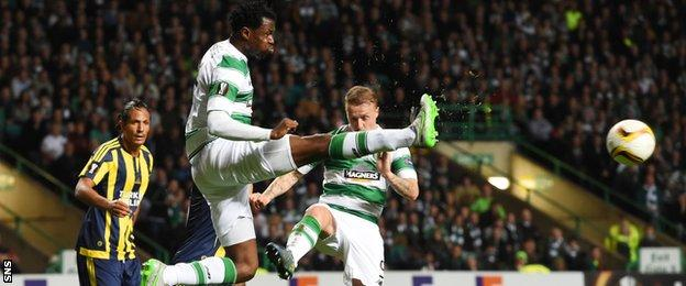 Celtic's Efe Ambrose clears the ball against Fenerbahce