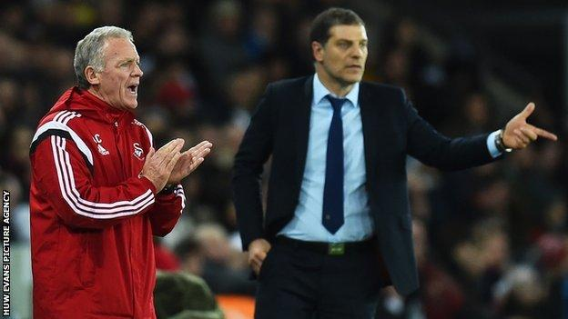 Alan Curtis shouts encouragement on the touchline during Sunday's draw with Slaven Bilic's West Ham