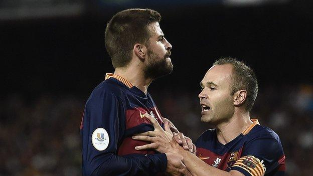 Gerard Pique (left) and Andres Iniesta