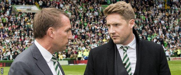 Celtic manager Brendan Rodgers and Kris Commons