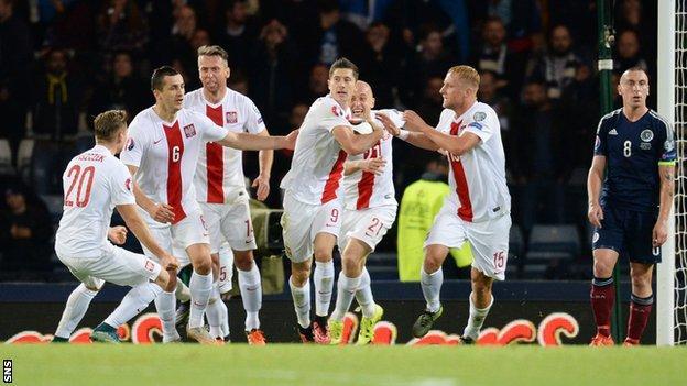 Poland players celebrating
