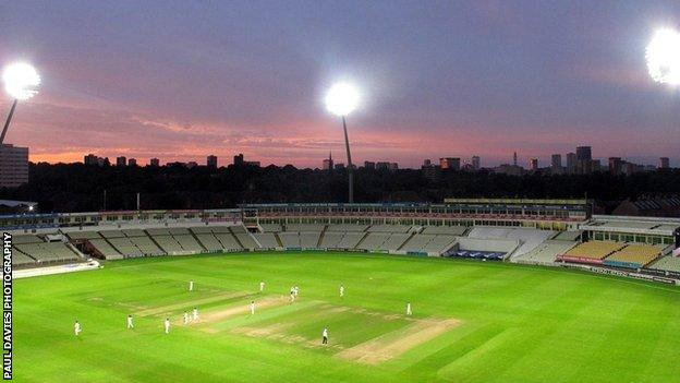 Edgbaston under lights for this week's Second XI Championship match between Worcestershire and Warwickshire