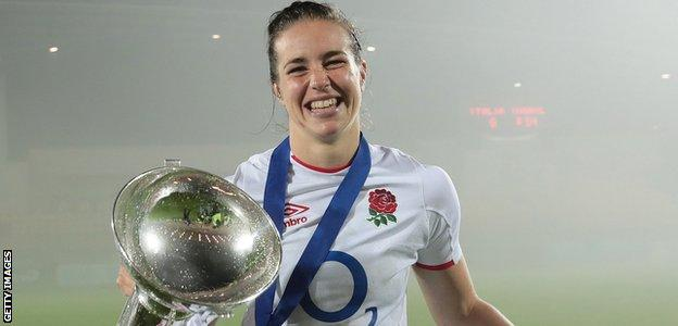 England's Emily Scarratt with the Six Nations trophy