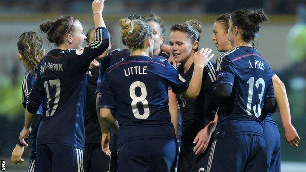 Scotland women's national side celebrate