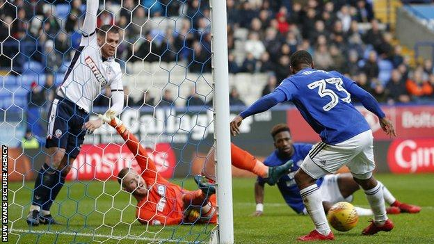Junior Hoilett turns the ball into the Bolton net, but the goal is ruled out for offside