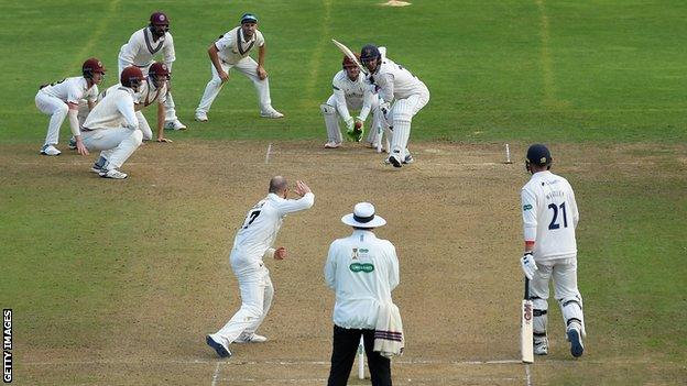 Somerset and England spinner Jack Leach took five of the 21 wickets that fell in the 148 overs bowled in the rain-affected match at Taunton
