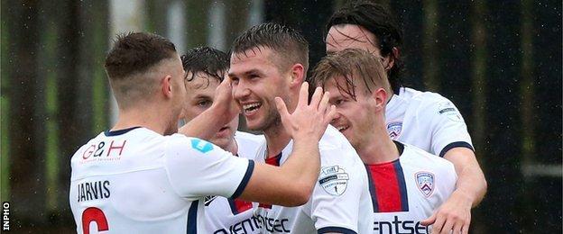 Stephen Lowry scored both goals in Coleraine's win