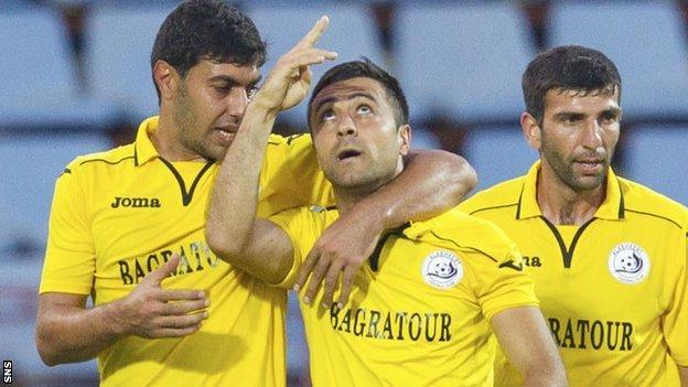 Mihran Manasyan (centre) celebrates his goal for Alashkert