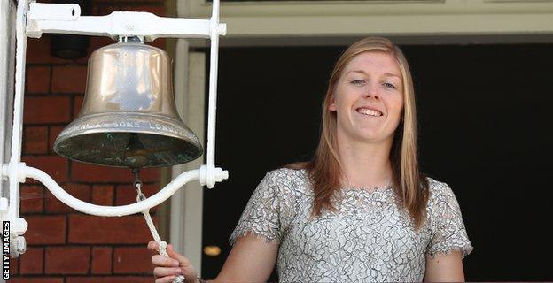 Heather Knight with the Lord's bell