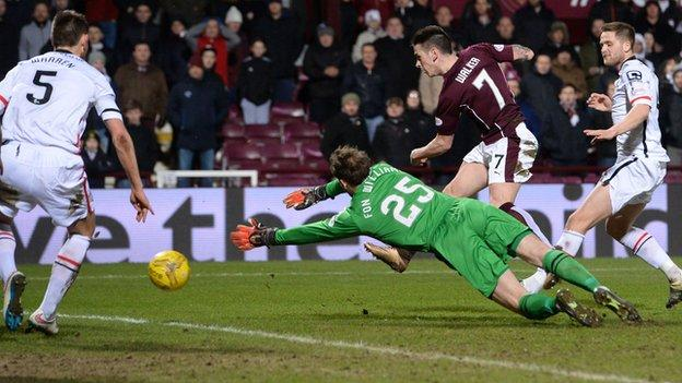 Jamie Walker fires Hearts into the lead