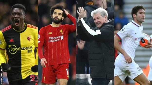 Left to right: Ismaila Sarr, Mohamed Salah, Roy Hodgson, Marcos Alonso