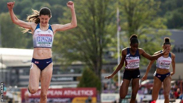 Amy Hunt, still just 17, celebrates 200m victory in last year's European under-20 Championships