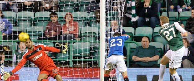 Niklas Gunnarsson smashes in Hibernian's third goal