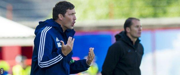 Martin Canning and Alan Archibald take in the goalless draw between Hamilton and Partick Thistle
