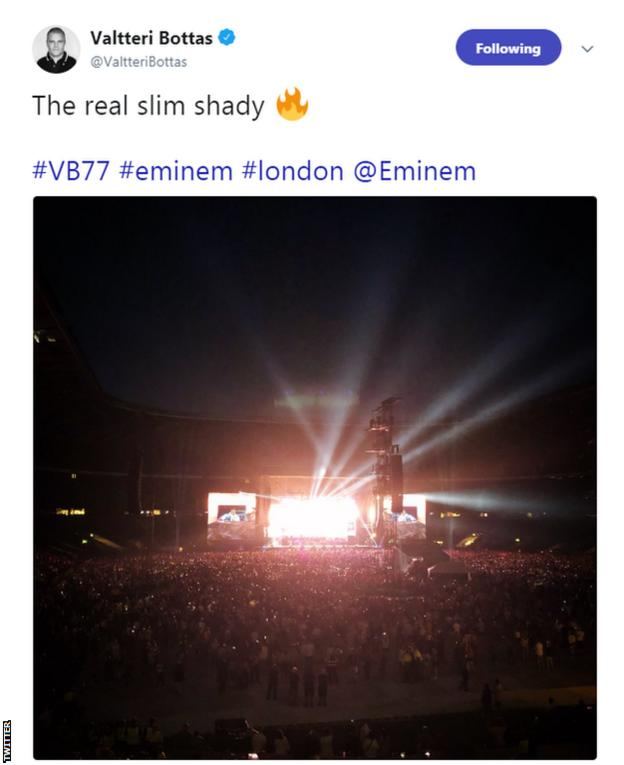 Valtteri Bottas at he Eminem concert at Twickenham