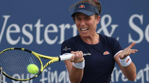 Johanna Konta hits a return at the Western and Southern Open