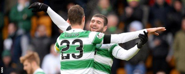 Ciftci celebrates scoring his second and Celtic's third