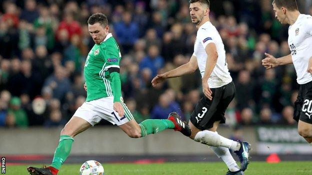 Corry Evans is about to score Northern Ireland's goal against Austria in November