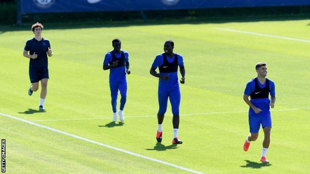 Chelsea players training on Tuesday