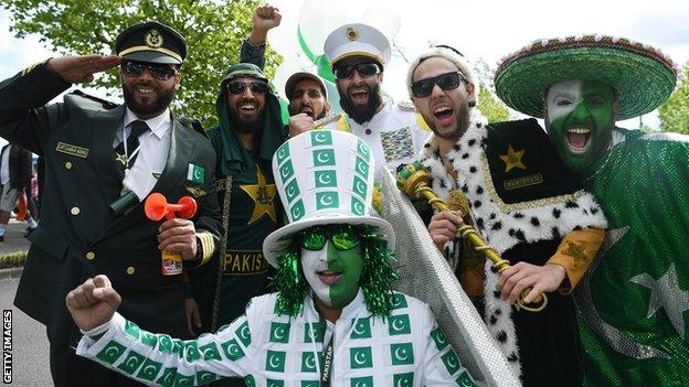 Pakistan supporters, before their game against India at Edgbaston