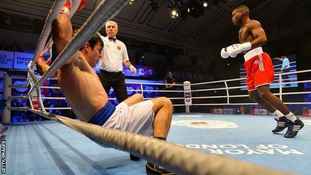 Joshua Buatsi of the British Lionhearts knocks out Souliman Abdourachidov of the USA Knockouts