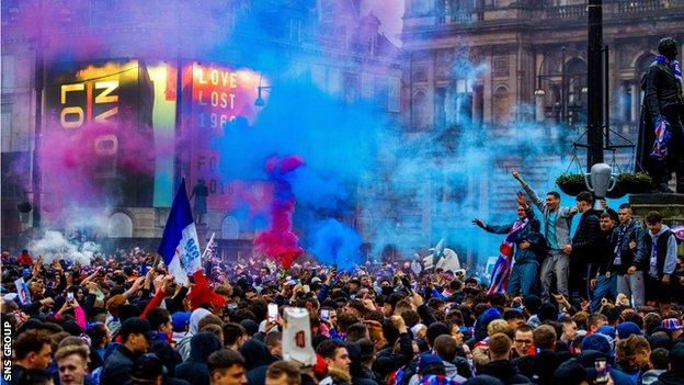 Rangers fans gather at George Square as they are crowned champions on 7 March