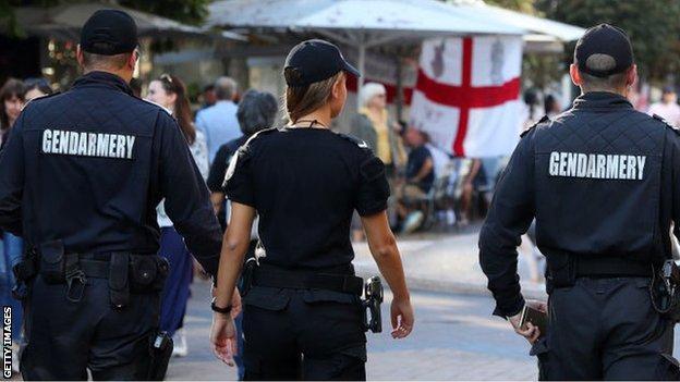 Bulgarian police on patrol before Bulgaria v England Euro 2020 qualifier