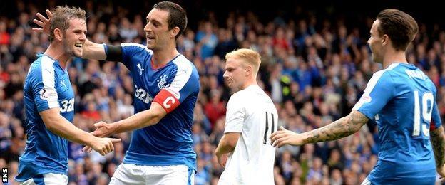 Rangers celebrate David Templeton's goal against Peterhead