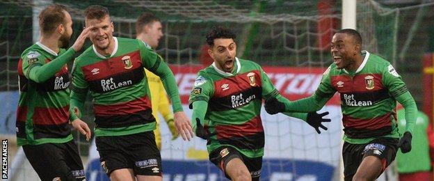 Glentoran's emphatic victory leaves them just three points off the top