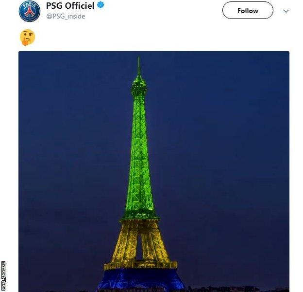 Paris St Germain's tweet teasing Neymar's arrival