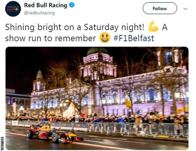 A tweet of the Red Bull F1 car racing in Belfast