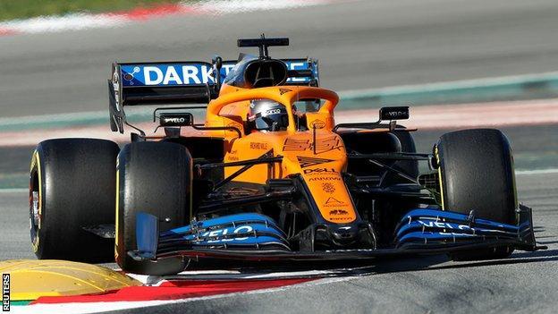 Carlos Sainz driving the McLaren during winter testing in Barcelona