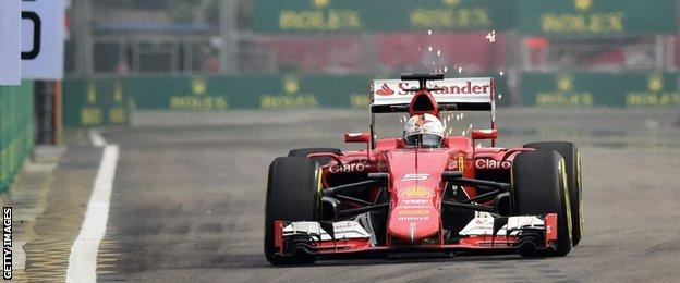 Sebastian Vettel in action during the first practice session at the Singapore Grand Prix
